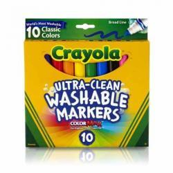 Crayola Ultra-Clean Broad Line Markers, Classic, 10-Count