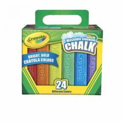 Crayola 24 Count Washable Non-Toxic Anti-Roll Sidewalk Chalk in Assorted Colors
