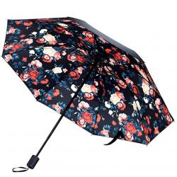 Kung Fu Smith Flowers Prints Compact Travel Umbrella, Sun UV Protection Parasol
