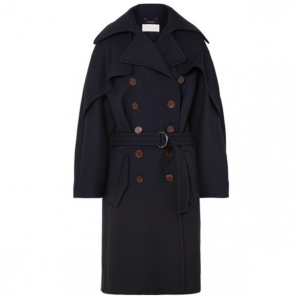 CHLOÉ Double-breasted wool and silk-blend drill coat