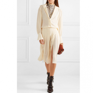 CHLOÉ Pleated silk crepe de chine midi dress