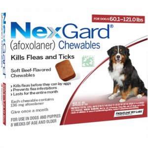 NexGard - 60.1-121 lbs (6 Chews) Red
