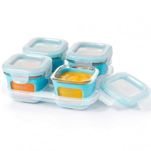 OXO Tot Glass Baby Blocks Food Storage Containers with Silicone Sleeves, Aqua, 4 oz