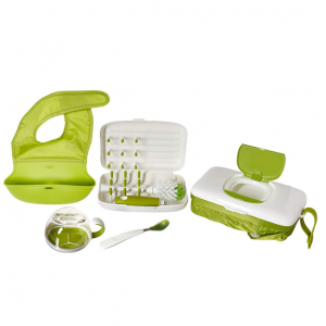 OXO Tot On-The-Go Essentials Value Set with Roll-up Bib, Feeding Spoon, Flippy Snack Cup, On-The-G