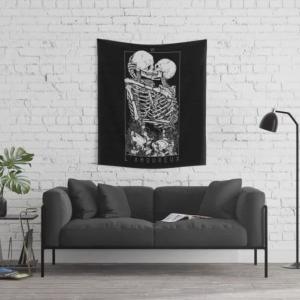 Valentine Wall Tapestry Surreal Skull Art