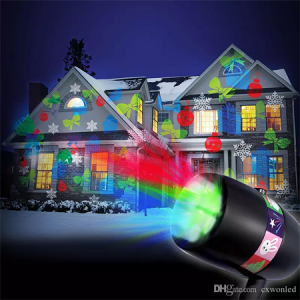 New lED Christmas Light LED Rotation Projector Lamp 12 Pattern Replaceable Lens Indoor Outdoor Gar