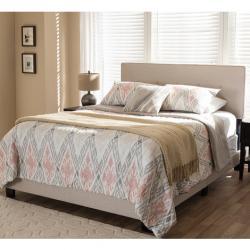 Hampton Light Beige Fabric Upholstered Full Size Bed, Light Beige, Queen