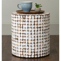 East At Main's Commons White Coconut Shell Inlay Round Accent Table