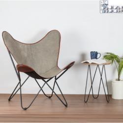 Brevent Iron Butterfly Chair With Canvas Seat