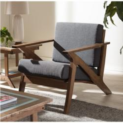 """Gray Fabric and """"Walnut"""" Brown Wood Living Room 1-Seater Lounge Chair"""