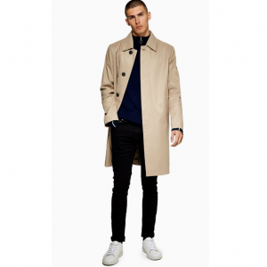 Stone Single Breasted Trench Coat