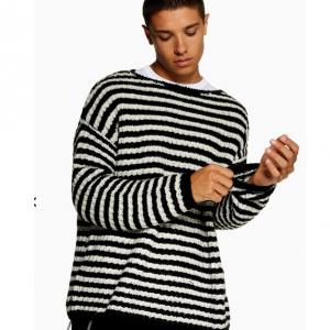 Black White Striped Fisherman Jumper