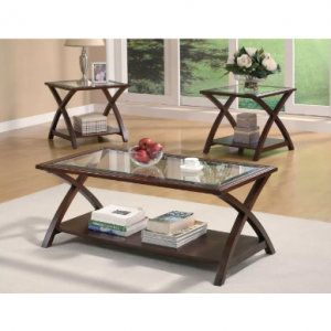 Cappuccino 3-Piece Occasional Table Set Includse Coffee Table and 2 End Tables