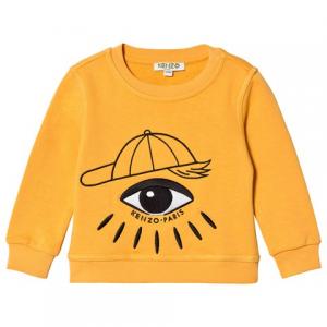 Kenzo Kids 노란색 아이 프린트 로고 셔츠