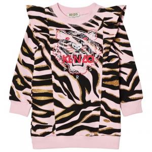 Kenzo Kids Pink Tiger Print Frill Shoulder 스웨터 원피스