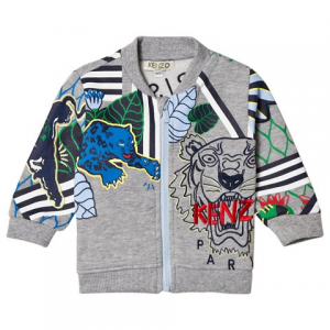 Kenzo Kids Grey Tiger And Logo All Over 스웨트 자켓