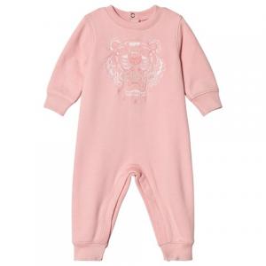 Kenzo Kids Rose Pink Tiger Embroidered Footless Babygrow