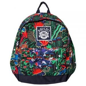 Kenzo Kids Navy and Green Tiger Print 가방