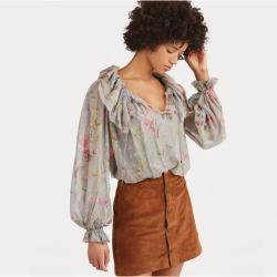 Sheer Silk Floral Blouse