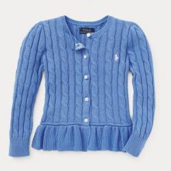 GIRLS 2-6X Cotton Peplum Cardigan