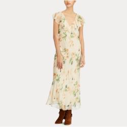 Floral-Print Silk Maxidress