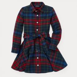 GIRLS 2-6X Plaid Flannel Shirtdress