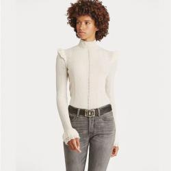 Ruffled Pointelle Wool Sweater