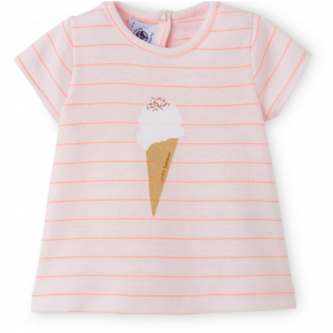 Petit Bateau BABY GIRLS T-SHIRT WITH THIN STRIPEDS AND MOTIF