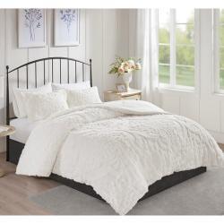 Viola 3 Piece Tufted Cotton Chenille Damask Comforter Set