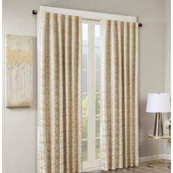Cassius Marble Jacquard Total Blackout Rod Pocket/Back Tab Curtain Panel