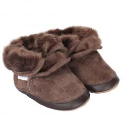 Robeez Cozy Ankle Boots Brown Soft Soles