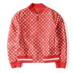 LOUIS VUITTON monogram leatherette jacket (Leather Baseball Jacket) red 52