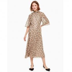 floral park clip dot midi dress