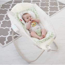 Fisher-Price Deluxe Auto Rock 'n Play Sleeper with SmartConnect, Green/White