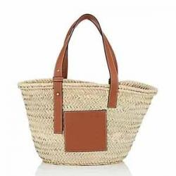 LOEWE Leather-Trimmed Straw Tote Bag