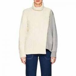 SACAI Cable-Knit & Terry Turtleneck Sweater