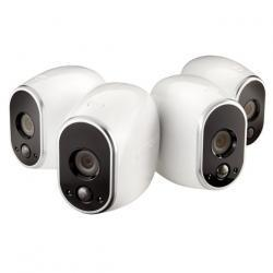 Arlo - Smart Home Indoor/Outdoor Wireless High-Definition Security Cameras (4-Pack) - White/Black