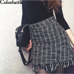 Colorfaith 2018 Women Woolen Mini Skirt Autumn Winter Vintage Straight Plaid Tassel Skater Skirt