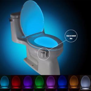 Motion Sensor Toilet Seat Lighting 8 Colors Backlight Toilet Bowl Automatic Night Lamp