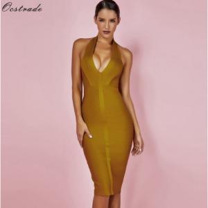 Ocstrade Summer Dresses Bandage 2018 New Arrivals Women Halter Sexy Yellow Bandage Dress