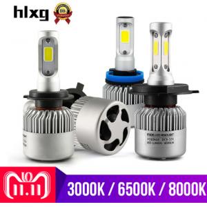 hlxg 2X 3000K H4 LED H7 H11 H8 HB4 H1 H3 HB3 Auto S2 Car Headlight Bulbs
