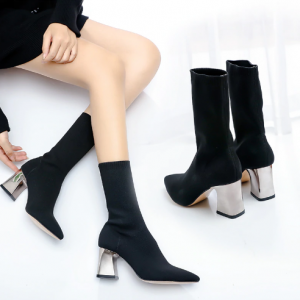 Fashion Women Boots High Heels Black Snow Boots Square Heels Winter Shoes
