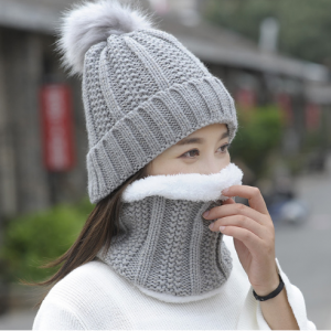 Autumn Winter Women's Hat Caps Knitted Wool Warm Scarf Thick Windproof Balaclava Multi Functional