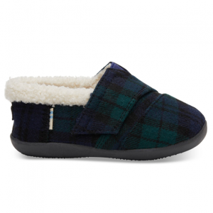 Spruce Plaid Felt Tiny TOMS House Slippers