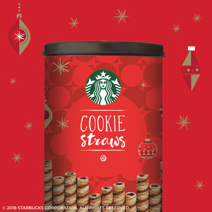 $6.98 Starbucks Individually Wrapped Holiday Cookie Straws, 20 Count Can @ Walmart