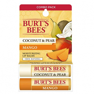 Burt's Bees 100% Natural Moisturizing Lip Balm, Coconut & Pear and Mango with Beeswax & Fruit Extr