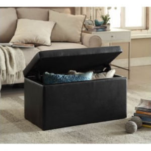 $12 off 30 Inch Hinged Storage Ottoman, Black @ Walmart