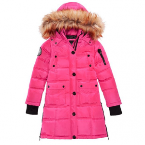 DKNY Big Girls Hooded Bubble Jacket with Faux-Fur Trim