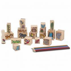 Melissa & Doug Stamp-a-Scene Stamp Set: Rain Forest - 20 Wooden Stamps, 5 Colored Pencils, and 2-C