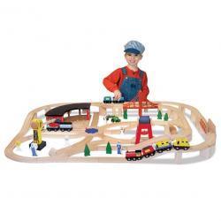 Melissa & Doug Deluxe Wooden Railway Train Set (130+ pcs)